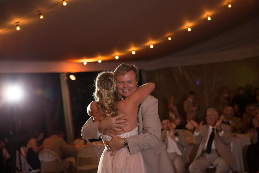 Bride hugging father after Dance at Nashville Zoo Wedding
