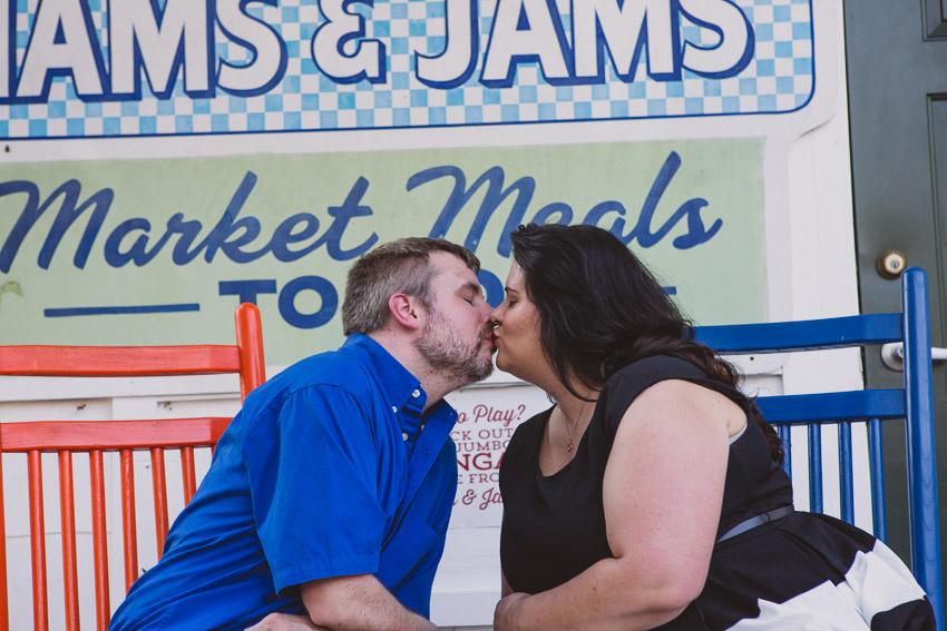 Loveless Cafe Engagement Session kissing
