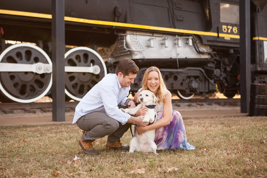 emotional moment with couple and dog