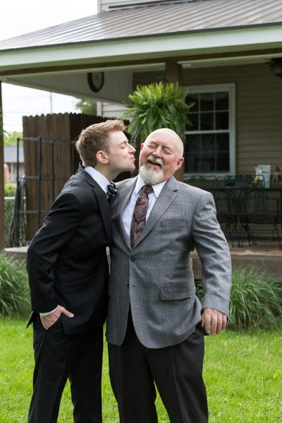 Chris with his dad at his home on the wedding day.