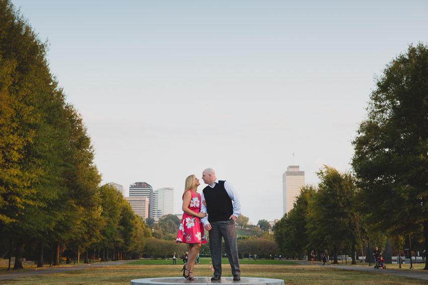 Bicentennial Mall State Park is gorgeous in the evening.  Such a beautiful location for engagement photos with the capitol building and Nashville in the background.