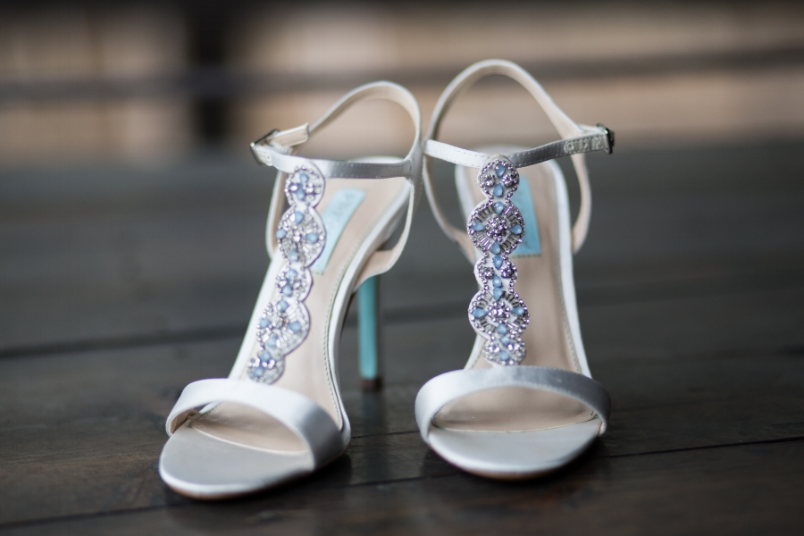 The wedding shoes were not only beautiful but complemented the wedding colors perfectly.