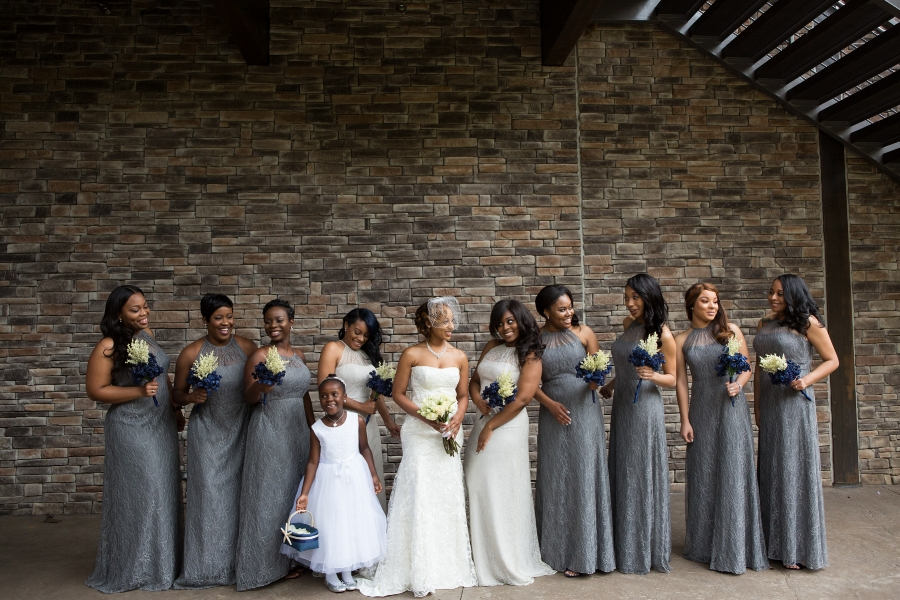 Amber was surrounded by her friends for her wedding day.