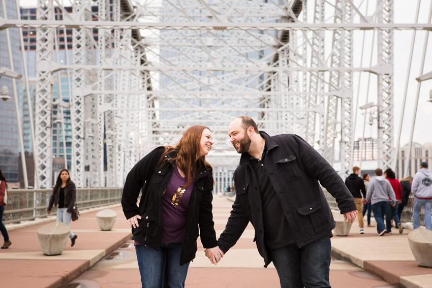 Couple smiling on Bridge