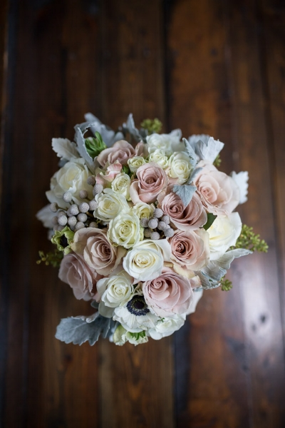 The floral colors and arrangement were so delicate and a perfect compliment to the rustic nature of The Lodge.