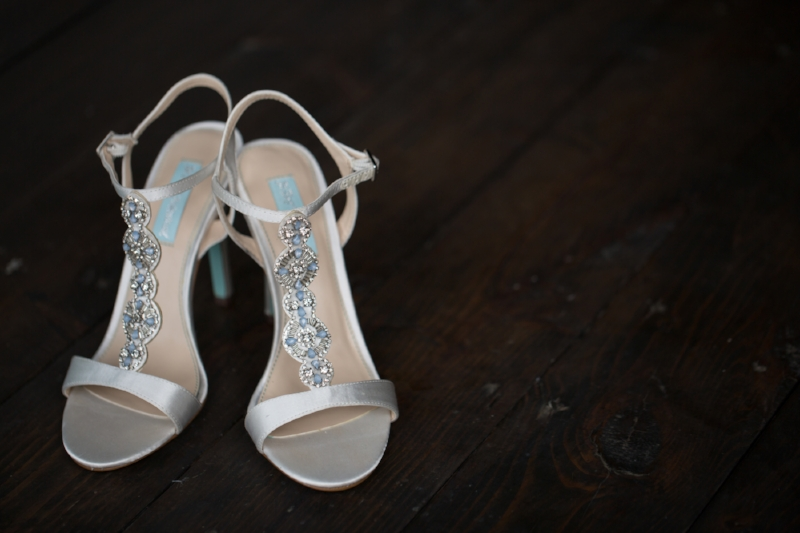 "These gorgeous wedding shoes are ""Blue by Betsey Johnson."""