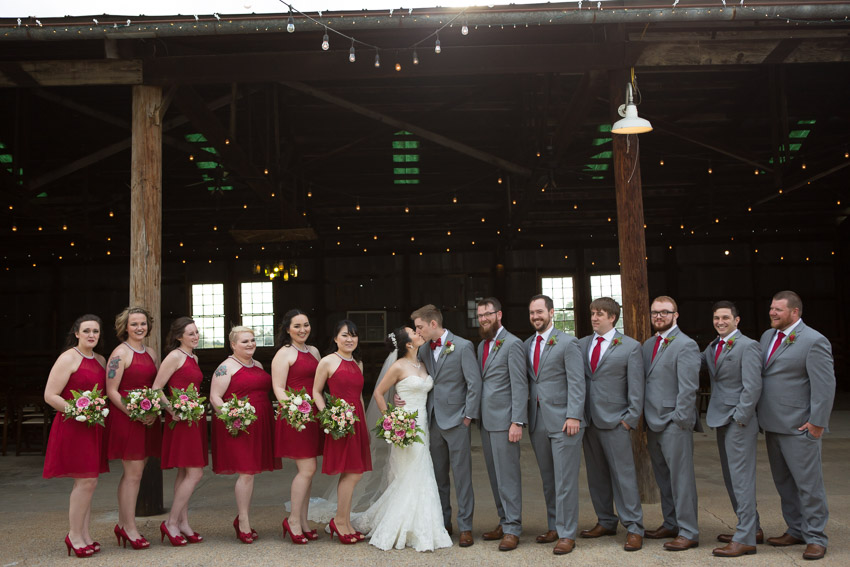 Beautiful and perfect color scheme for the bridal party with the strawberry patch in full bloom right next door.