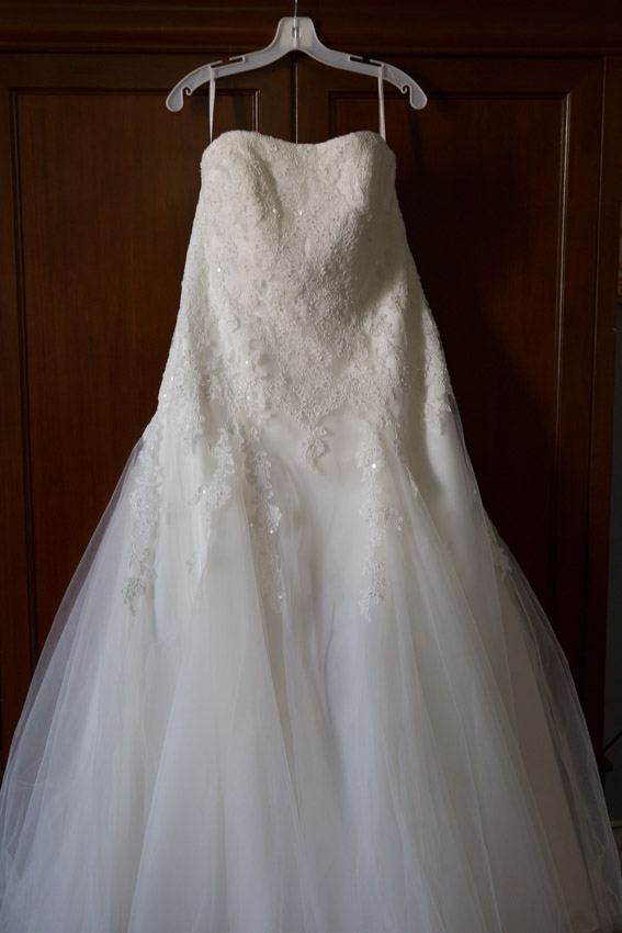 Beautiful Wedding Dress on Armoire