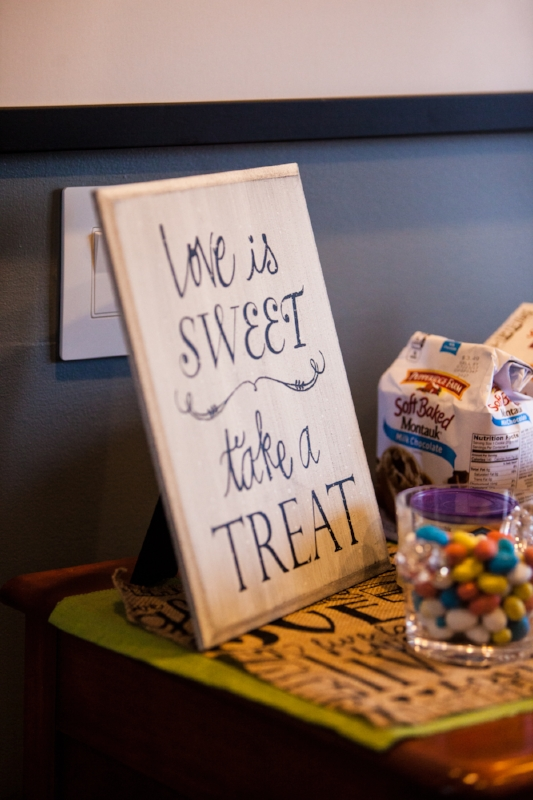 Love is sweet take a treat sign