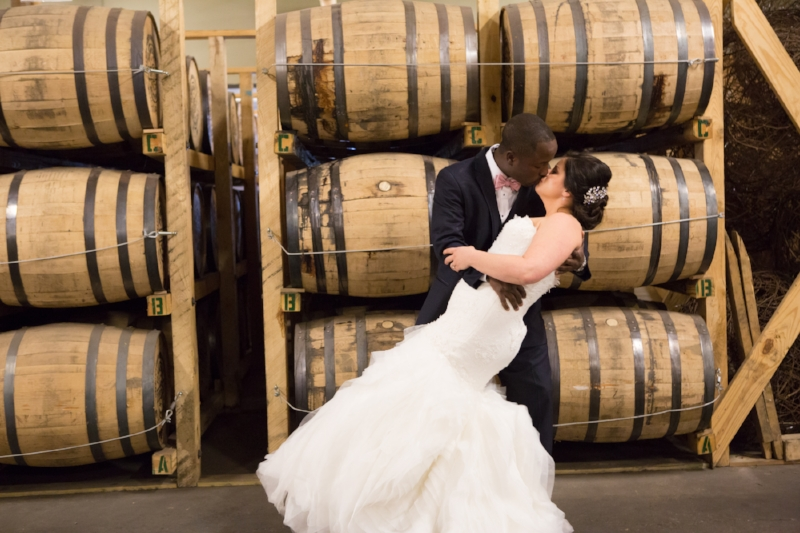 The oak barrel room Nelson's Green Briar Distillery Wedding Day First Look