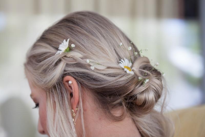 flowers in brides hair