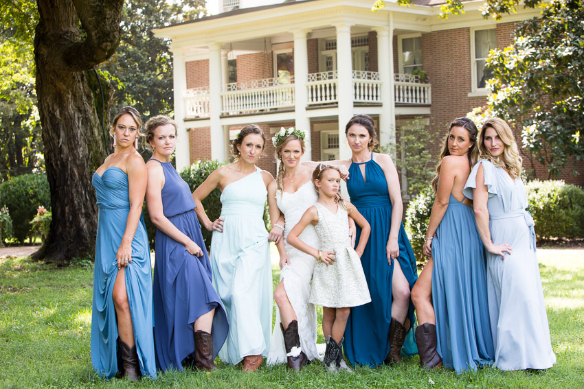 Fun bridesmaids photo with boots