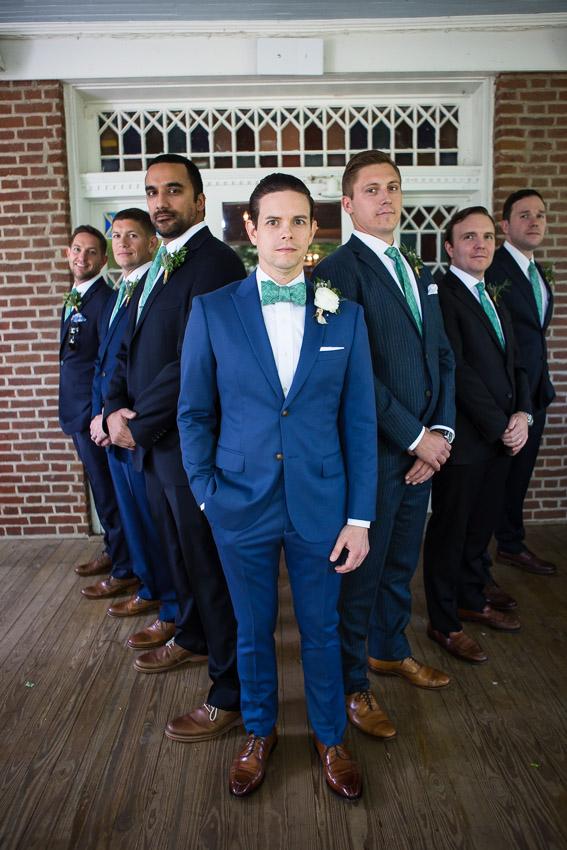 Groom with his groomsmen before wedding