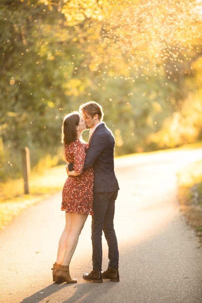 Gorgeous sunset fall engagement session at Shelby Bottoms Greenway Park Nashville