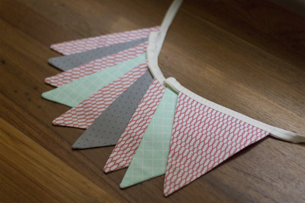 bunting - mint, grey & pink