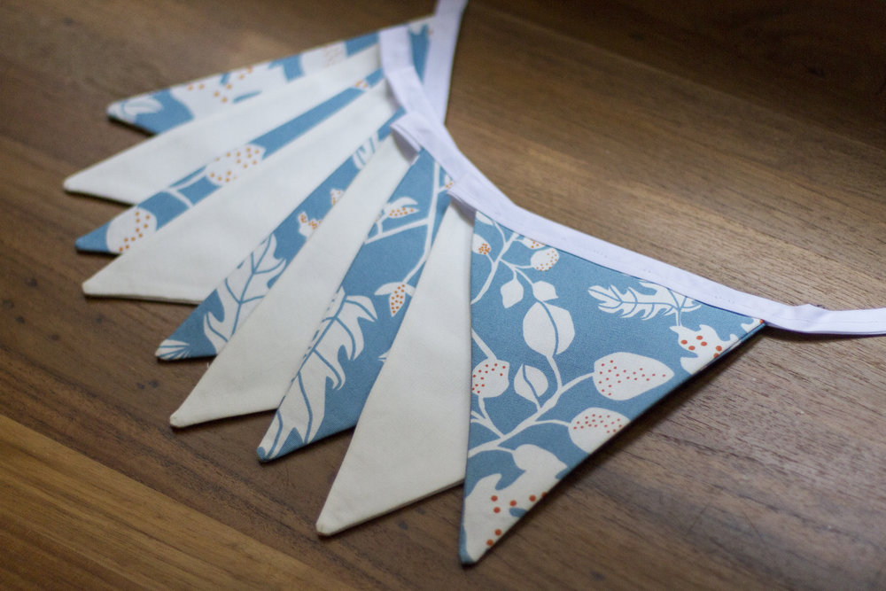 bunting - blue & white