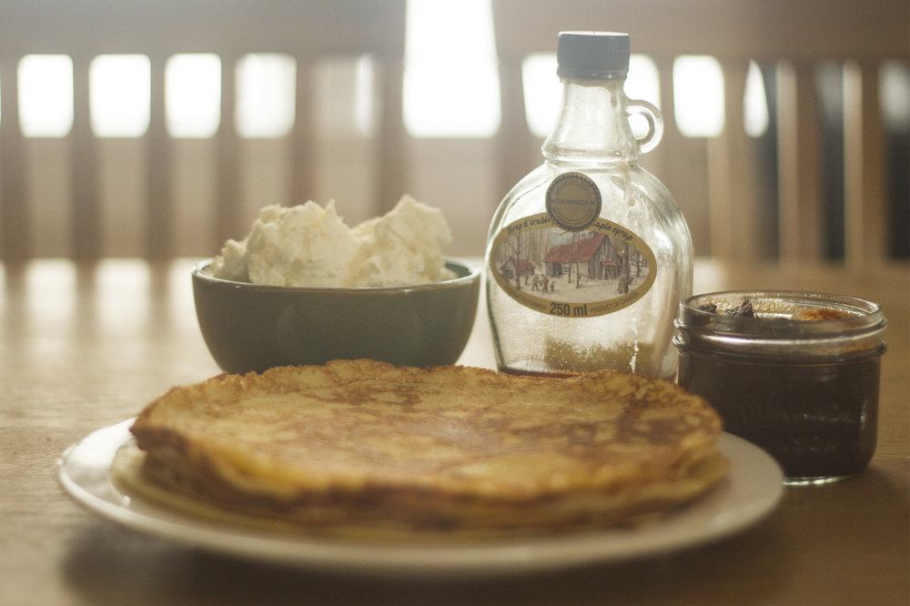 We opened the last jar of apple butter.  Time to restock.   (Crêpes with whipped cream, maple syrup, and apple butter.)