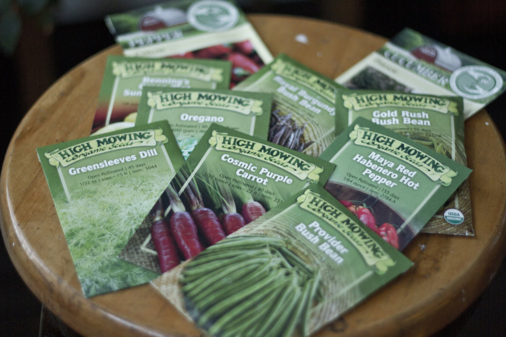 We got our seed delivery from  Sage Garden Herbs  today!     We're adding Cosmic Purple Carrot, Greensleeves Dill, Oregano, Maya Red Habanero Pepper, Gold Rush Bush Bean, Royal Burgundy Bush Bean, Benning's Green Tint Summer Squash, Parade Cucumber, Cyklon Pepper and Provider Bush Bean seeds to this year's roster.