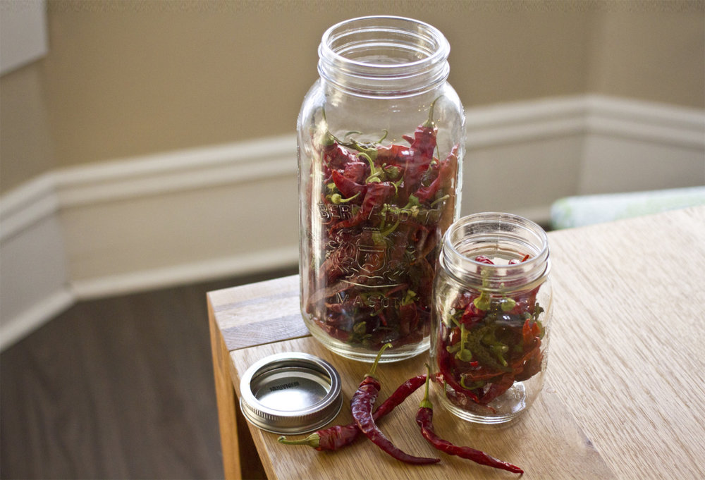 Dehydrated cayenne peppers from this summer's garden.  A sure-fire way to warm you up for the holidays.