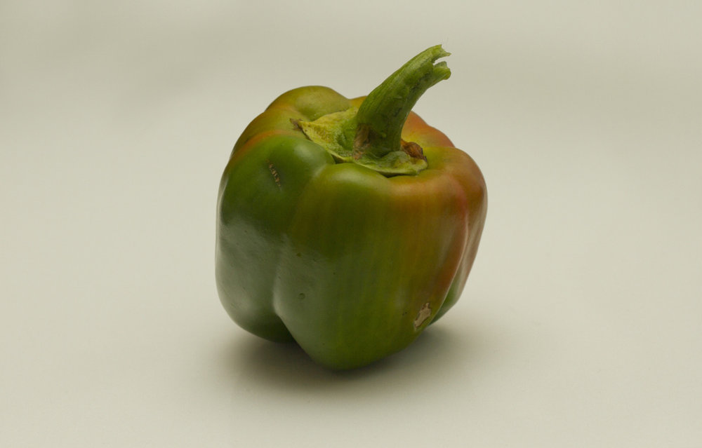One delicious green (and red) belle pepper.