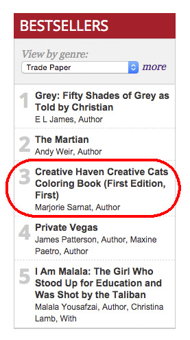 As Of August 10 Creative Cats Coloring Book Has Been On The Best Seller List For 13 Straight Weeks Very Exciting Followed Closely By Owls
