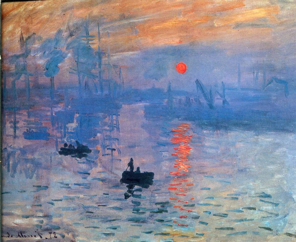 """Claude Monet – Impression, Sunrise"" Your eyes are drawn to the warm orange sun and reflection becasue they are surrounded by a large amount of cool blue."