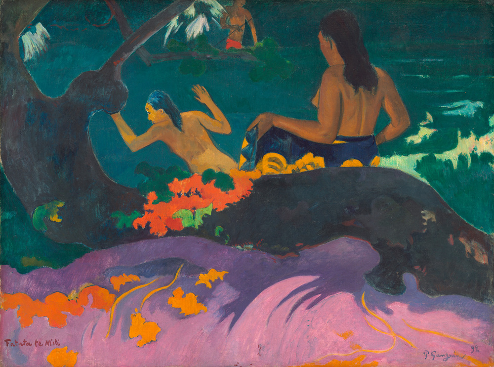 """Paul Gauguin - Fatata te Miti (By the Sea)"" – The bottom pink is somewhat warm, but the figures against the cool background are a good example (Licensed under Public Domain via Wikimedia Commons)"