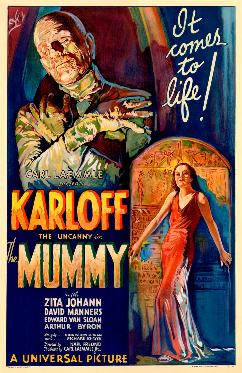 """The Mummy 1932 Film Poster"" – Universal Pictures, attributed to Karoly Grosz. This movie poster is more like half warm and half cool, but notice in particular the woman in the lower right who is bathed in warm light and stands against a cool shadow. (Licensed under Public Domain via Wikimedia Commons)"