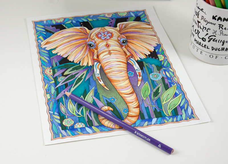 COMPLETED ILLUSTRATION FROM MY NEWEST COLORING BOOK, THE ART OF MARJORIE SARNAT: ELEGANT ELEPHANTS ADULT COLORING BOOK, TO BE PUBLISHED JULY 2016. SIGN UP ON MY EMAIL LIST TO BE THE FIRST TO LEARN ABOUT ITS RELEASE DATE. © MARJORIE SARNAT.
