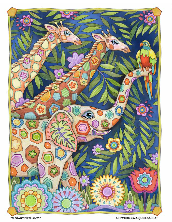 Giraffe Motif - Colored by Marjorie Sarnat