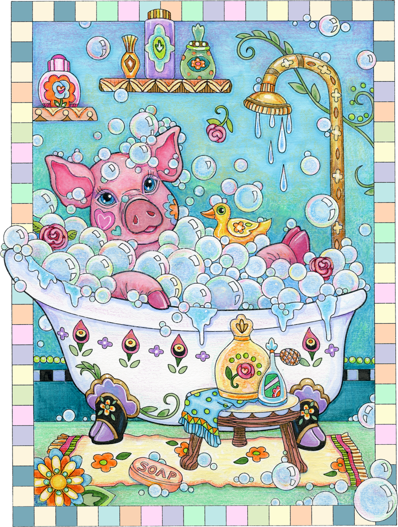 """Piggy in a Bathtub"" ©Marjorie Sarnat, from Pampered Pets Coloring Book."