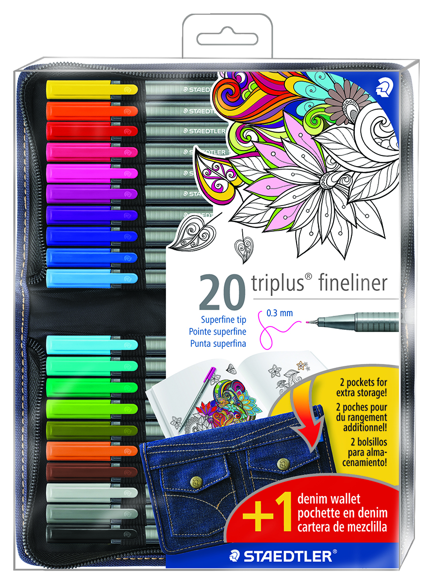This set of 20 triplus fineliners comes with a unique denim carrying pouch.