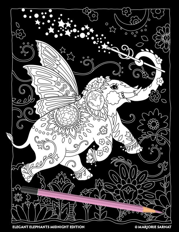 Elegant elephants midnight edition marjorie sarnat Dragon coloring book for adults midnight edition
