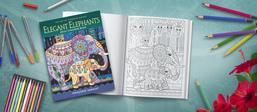 Elegant Elephants Adult Coloring Book From The Adorable To Awe Inspiring Thirty Four Illustrations Of Make Up