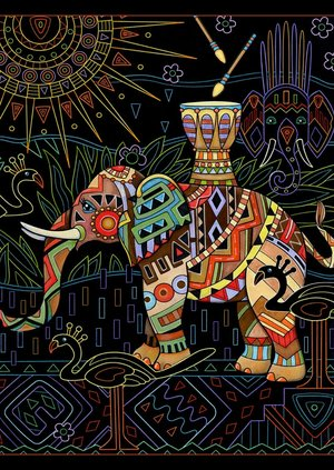 Elephant With African Motif Elegant Elephants Midnight Edition From The Sweet To Sophisticated Thirty Four Illustrations Celebrate Majesty