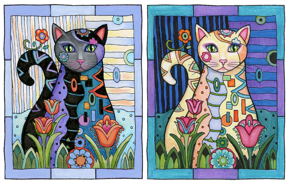 EXAMPLES OF HIGH CONTRAST: Left, dark subject against light background. Right, light subject against dark background. © Marjorie Sarnat. Original line art illustration is from Creative Cats.