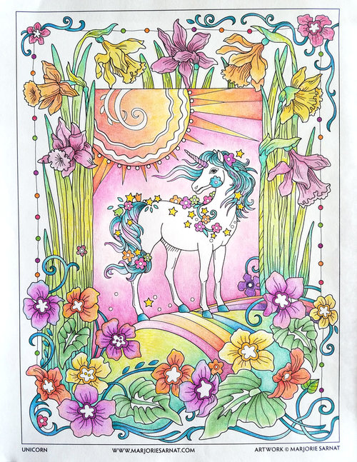 Dreamy Unicorn Complimentary Coloring Page