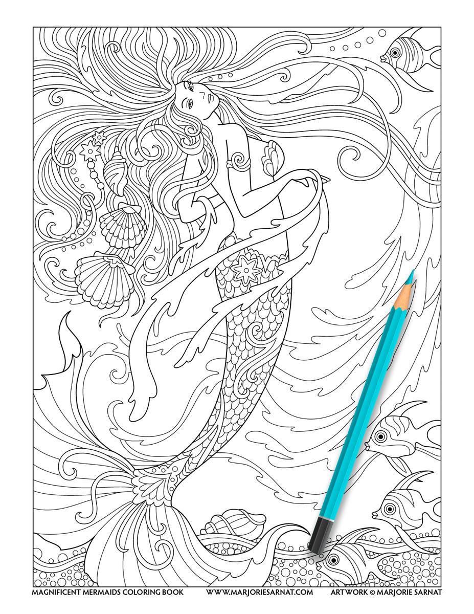 Mermaid with Swirling Seaweed