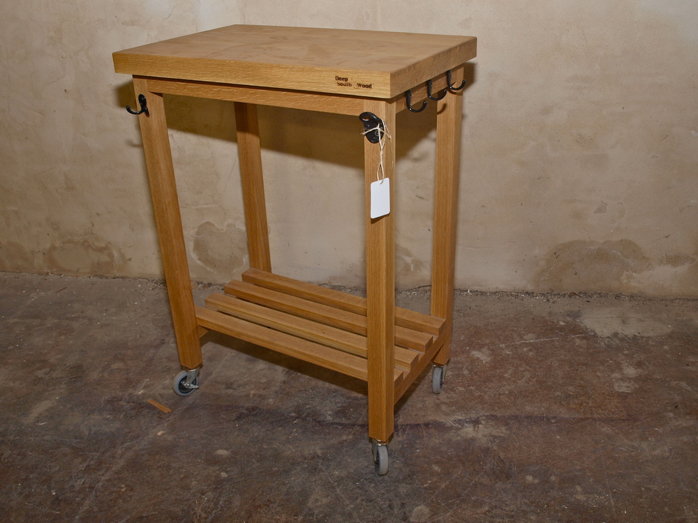 White oak grill cart