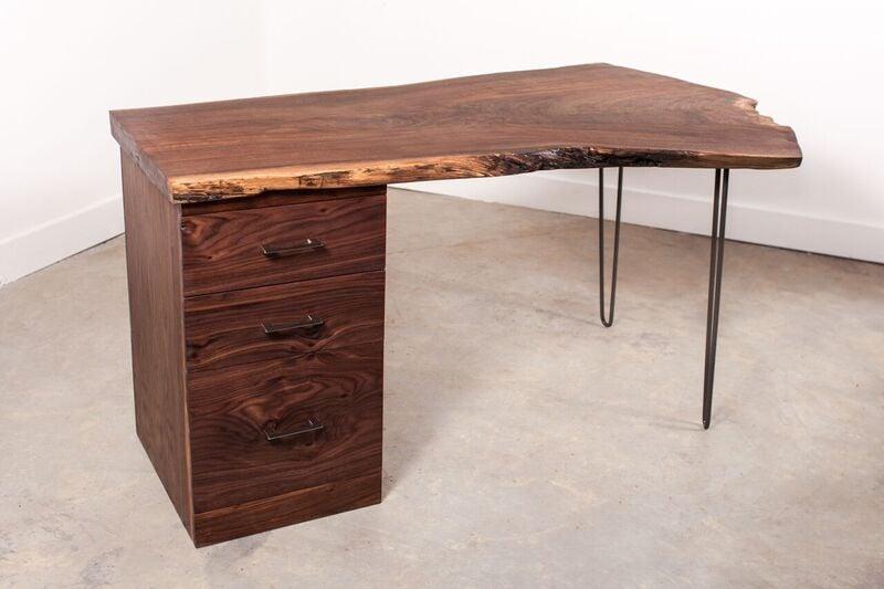 Small Walnut Slab Desk With Storage