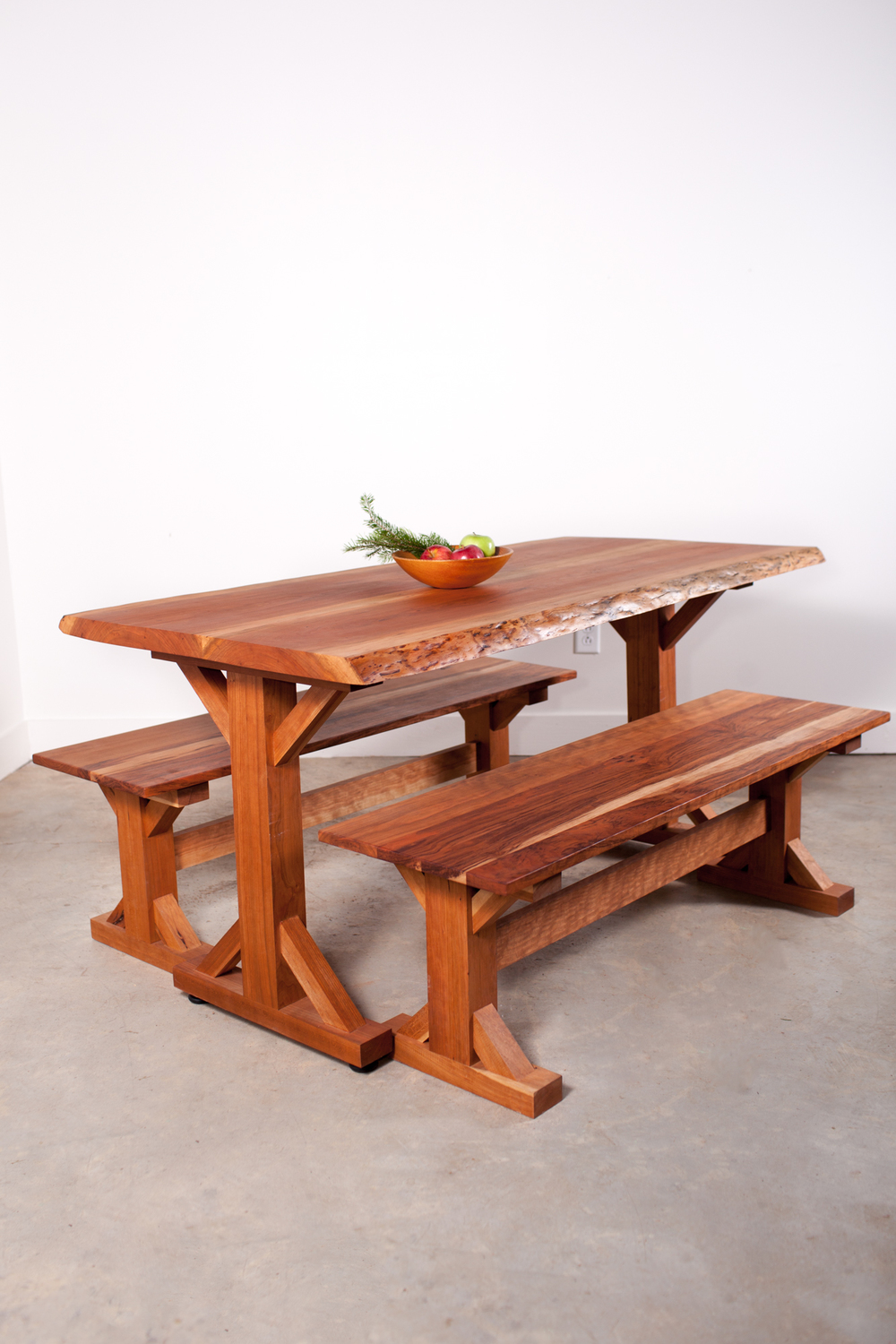 Cherry Slab Table with Benches