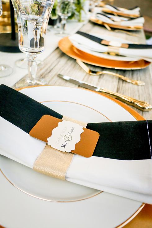 Elegant black, white & gold wedding