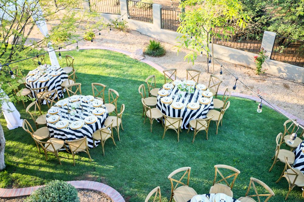 Elegant black and white backyard wedding