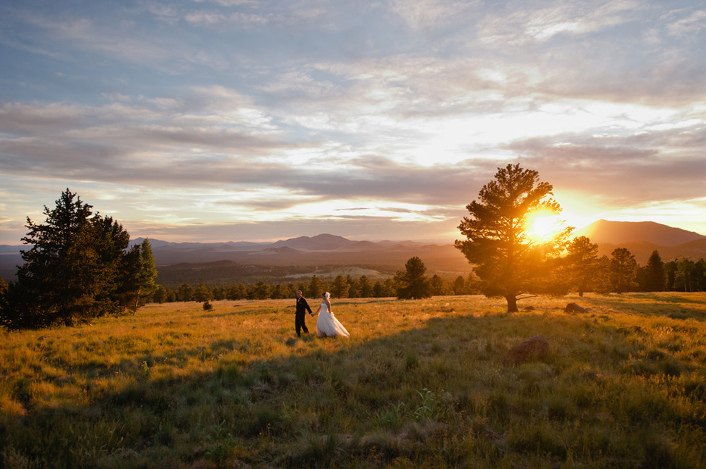 mountain sunset bridal photo