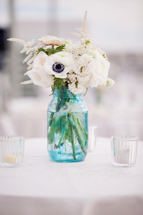 Vintage Blue Mason Jar Centerpeice