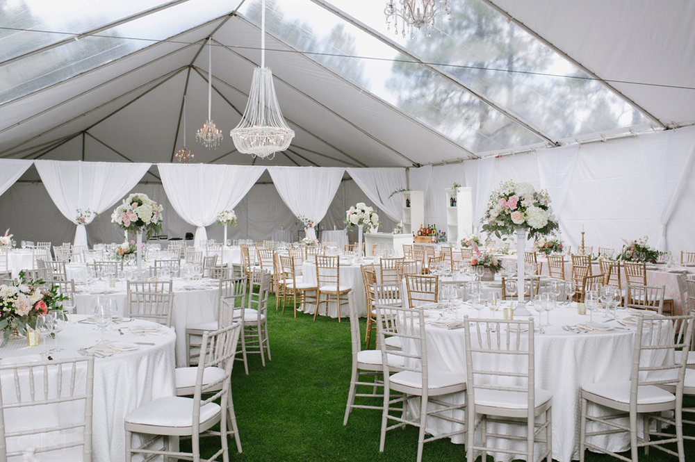 elegant tented white reception