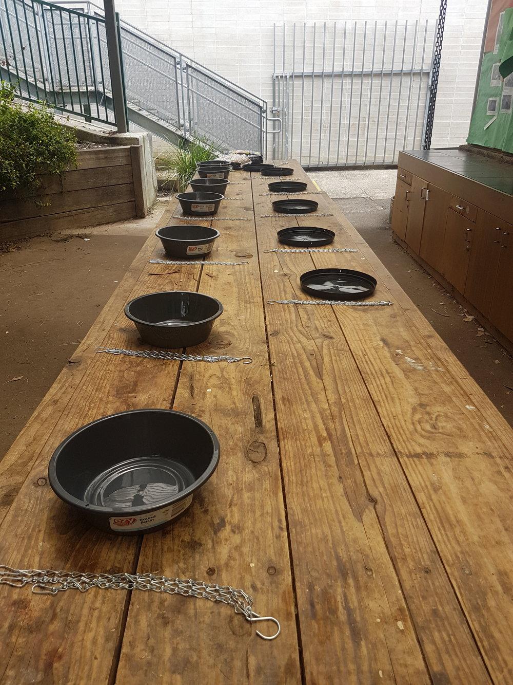 Constructing our bird feeders