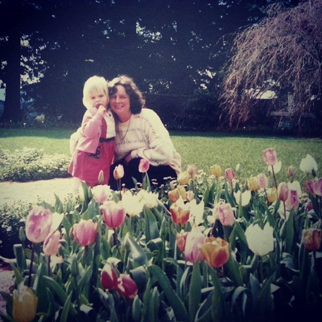 Not the best pic of either of us...but look at the tulips!! Thanks for being a wonderful Mum- the lady that grows the beautiful grapevine, amongst other things, and offered to help me deliver flowers on Mother's day xx