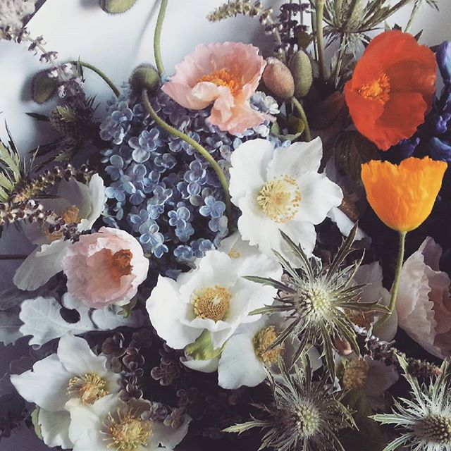 Close up. Hellebore, poppy, sea holly, hydrangea, dusty and hyacinth soup. #flowers #melbourneflorist