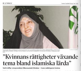 Min intervju med vice president Ebtekar i Svenska Dagbladet 2002.